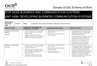 Business and Communication systems Lessons