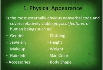 Physical appearance nonverbal communication